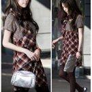 Korean Fashion Wholesale [B2-6213] Youthful & Elegant Plaid Checkered dress + Scarf - Red + black