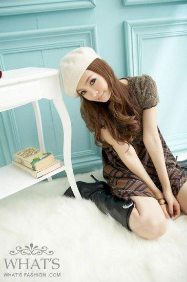 Korean Fashion Wholesale [B2-6213] Youthful & Elegant Plaid Checkered dress + Scarf - Cocoa