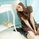 Korean Fashion Wholesale [B2-6213] Youthful & Elegant Plaid Checkered dress + Scarf - Cocoa