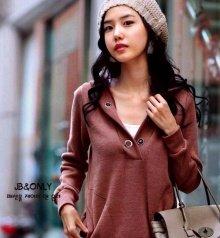 Korean Fashion Wholesale [E2-1100] Cute & Athletic Hoodie - red brick