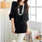 Korean Fashion Wholesale [B2-6206] Pretty & Flowy Off-shoulder Korean Style Fashion Top - black