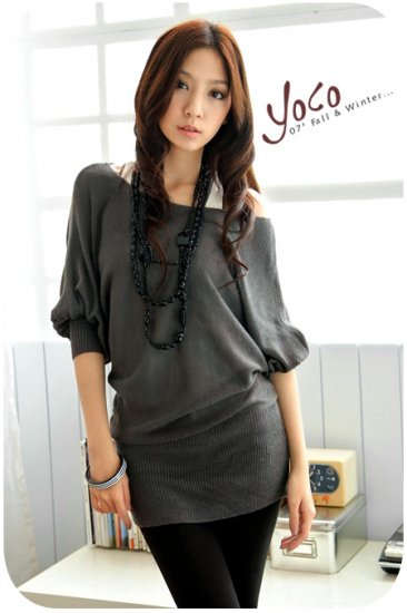 Korean Fashion Wholesale [B2-6206] Pretty & Flowy Off-shoulder Korean Style Fashion Top - dark gray