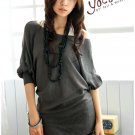 Korean Fashion Wholesale [B2-6206] Pretty & Flowy Off-shoulder Korean Style Fashion Top - dark gray