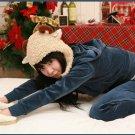 Korean Fashion Wholesale [B2-6184] SUPER Cute&Athletic Velvet 2-piece Suit - Navy