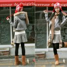 Korean Fashion Wholesale [B2-6154] Luxurious&Pretty Faux Fur Hooded Jacket -Gray- Size M