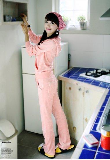 Korean Fashion Wholesale [C2-608] SUPER Adorable&Comfy Velvet 2-piece Suit - baby Pink