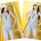 Korean Fashion Wholesale [B2-5027] Victoria's Secret PINK Cute & Sporty 2-piece Suit - gray