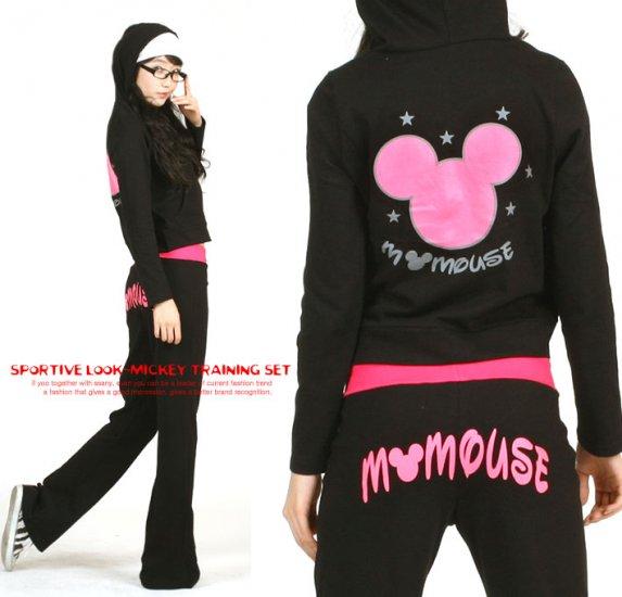 Korean Fashion Wholesale [E2-1021] DISNEY Mickey Mouse Adorable & Sporty 2-piece Suit - black