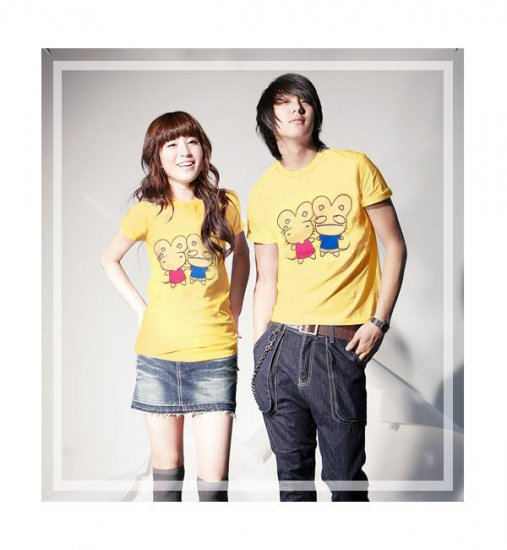 Korean Fashion Wholesale [B2-8858] Cute & Adorable Mice Couple T-shirts - Yellow