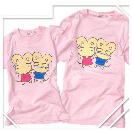 Korean Fashion Wholesale [B2-8858] Cute & Adorable Mice Couple T-shirts - Pink