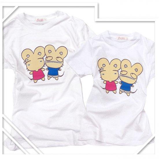Korean Fashion Wholesale [B2-8858] Cute & Adorable Mice Couple T-shirts - White