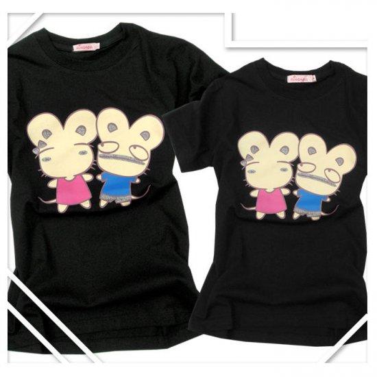 Korean Fashion Wholesale [B2-8858] Cute & Adorable Mice Couple T-shirts - Black