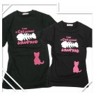 Korean Fashion Wholesale [B2-8853] Cute & Adorable Little Cat T-shirts - Black