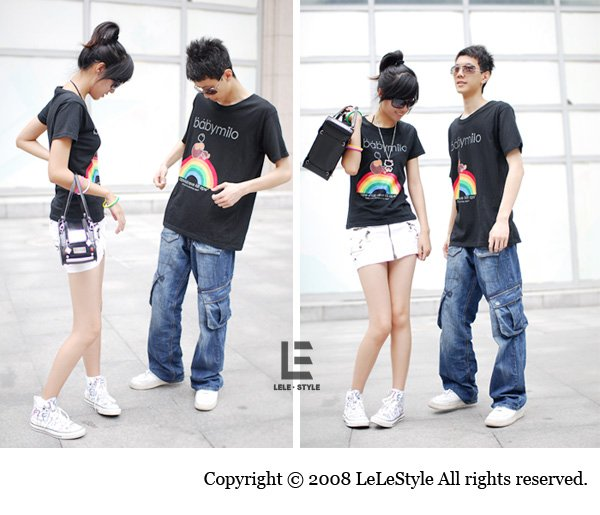 Korean Fashion Wholesale [C2-6061] Kawaii Rainbow Hello Kitty & Little Monkey Couple T-shirts