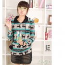 Korean Fashion Wholesale [C2-6092] Lovely Pompom Hooded Sweater - blue multi