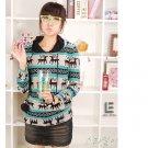 Korean Fashion Wholesale [C2-6092] Lovely Pompom Hooded Sweater - blue multi