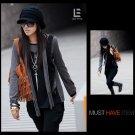 Korean Fashion Wholesale [C2-6091] Stylish 2-layer look Long-sleeved Top + Scarf - black