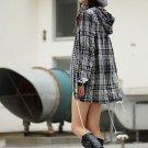 Korean Fashion Wholesale [C2-6085] Youthful Street-wear Plaid Windbreaker - black+white