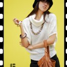 Korean Fashion Wholesale [C2-6095] Stylish & Soft & Warm Banded Sweater Top - white