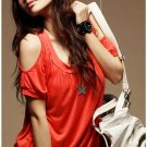 Korean Fashion Wholesale [B2-8874] Sexy Peek-a-boo Shoulders Short Dress - orange