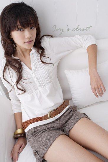 Korean Fashion Wholesale [C2-5257] Pretty & Trendy Detailed Korean style Top - white