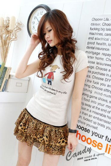 Korean Fashion Wholesale [B2-1338] Cute Little Graphic T-shirt - white