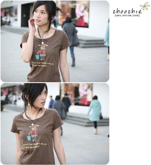 Korean Fashion Wholesale [B2-1338] Cute Little Graphic T-shirt - coffee
