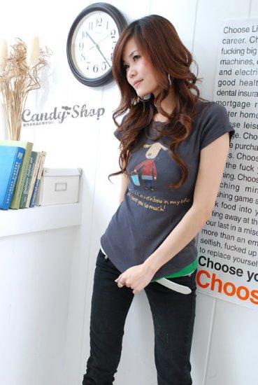 Korean Fashion Wholesale [B2-1338] Cute Little Graphic T-shirt - gray