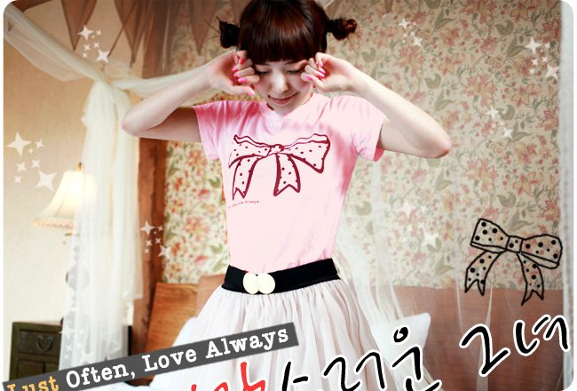 Korean Fashion Wholesale [B2-8803] Adorable & Cute Bow T-shirt - pink