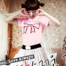 Korean Fashion Wholesale [B2-8803] Adorable & Cute Bow T-shirt - pink