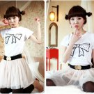 Korean Fashion Wholesale [B2-8803] Adorable & Cute Bow T-shirt - white