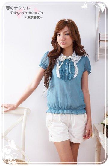 Korean Fashion Wholesale [B2-1373] Cute Ruffles Lace Chiffon Blouse - blue