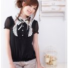 Korean Fashion Wholesale [B2-1373] Cute Ruffles Lace Chiffon Blouse - black