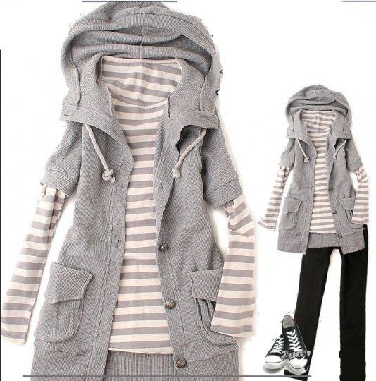 Korean Fashion Wholesale [B2-2017] Twice as Nice Hooded Jaket + striped shirt - gray
