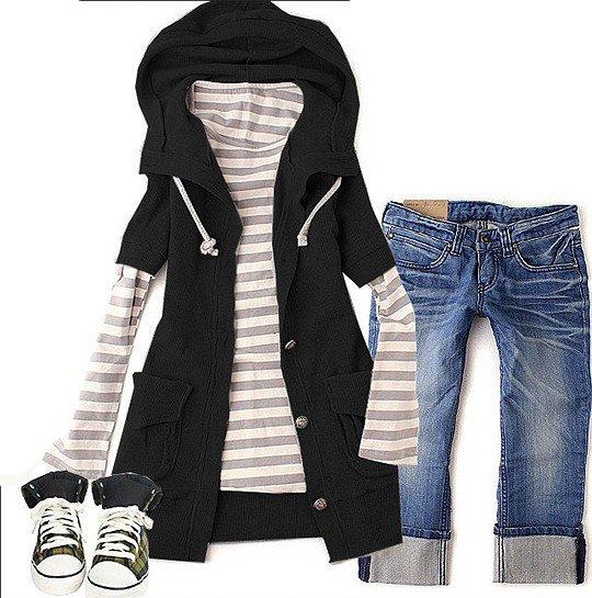 Korean Fashion Wholesale [B2-2017] Twice as Nice Hooded Jaket + striped shirt - black