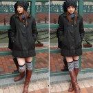 Korean Fashion Wholesale [E2-1056] Cute 2-button Long Coat - black - Size M