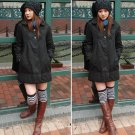 Korean Fashion Wholesale [E2-1056] Cute 2-button Long Coat - black - Size L