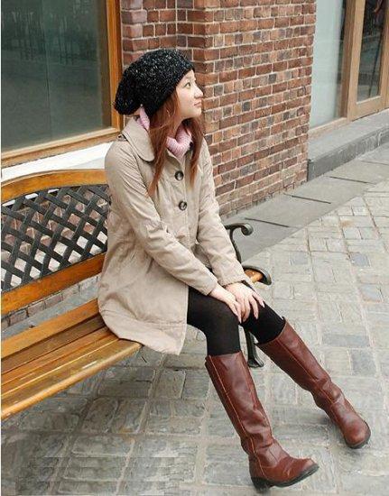 Korean Fashion Wholesale [E2-1056] Cute 2-button Long Coat - beige - Size M