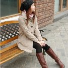 Korean Fashion Wholesale [E2-1056] Cute 2-button Long Coat - beige - Size L