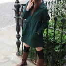 Korean Fashion Wholesale [E2-1056] Cute 2-button Long Coat -dark green-Size M