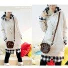 Korean Fashion Wholesale [B2-6134] SUPER Cute & Kawaii 2-layer look Plaid lined Hoodie - gray