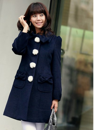 Korean Fashion Wholesale [B2-6089] Up-town Girl Luxurious Pompom Buttons Coat- navy - size M