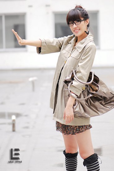 Korean Fashion Wholesale [C2-6089] Pretty & Decent Korean Windbreaker Light Coat -beige-Size M