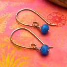 Dark Periwinkle Blue Quartz Sterling Silver Modern Half-Hoop Earrings