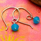 Aqua Blue Quartz Sterling Silver Modern Half-Hoop Earrings