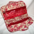 Serious Skin Care Bella Rose Merlot Red Toile Floral Print Toiletry / Cosmetic Travel Bag NEW