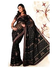 Designer Chiffon Saree with Red, golden and blue print