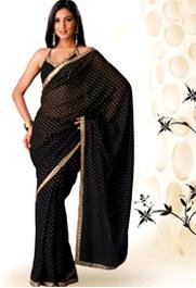 Designer Georgette Saree with Pink and yellow polka dots