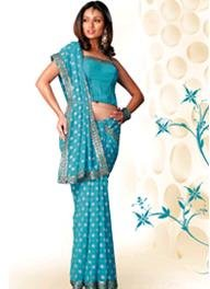 Designer Georgette Saree with Blue and gold sequin work