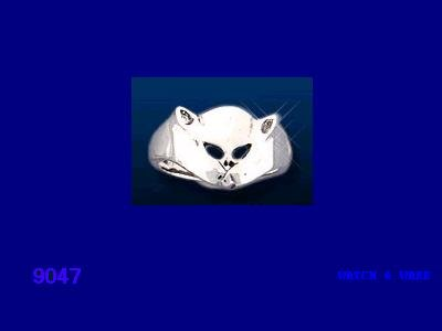 NEW Unisex Panther or Cat Face Sterling Silver Ring size 10